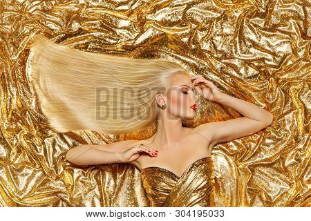 Gold Hair, Fashion Model Golden Straight Hairstyle, Blonde Girl On Shiny Sparkles Background