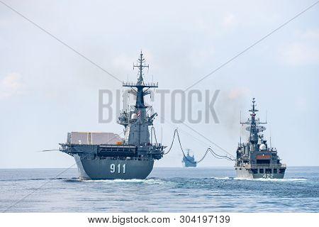Andaman Sea, Thailand - April 12, 2019 : Htms Taksin (ffg422) Refuels At Sea (fas, Fueling At Sea) W