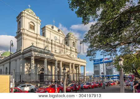 San Jose,costa Rica - March 22,2019 - View At The Building Of Metropolitan Cathedral In San Jose. Sa