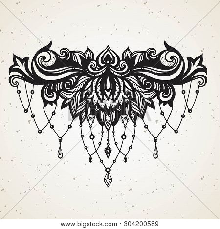 Rich Womens Tattoo With Jewelry And Barocco Decorativ Floral Element. Abstract In Boho Ethnic Style