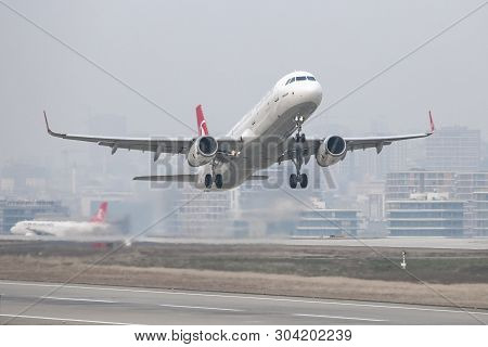 Airplane Takeoff From Airport