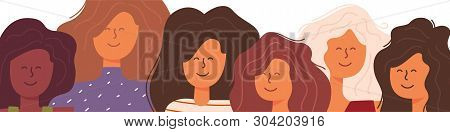 Portrait A Group Girls Different Nationalities. Young Pretty Women Standing Together And Smile On A