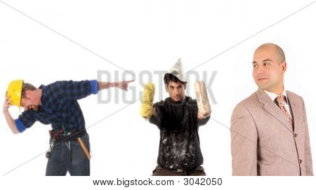 Businessman And Construction Workers