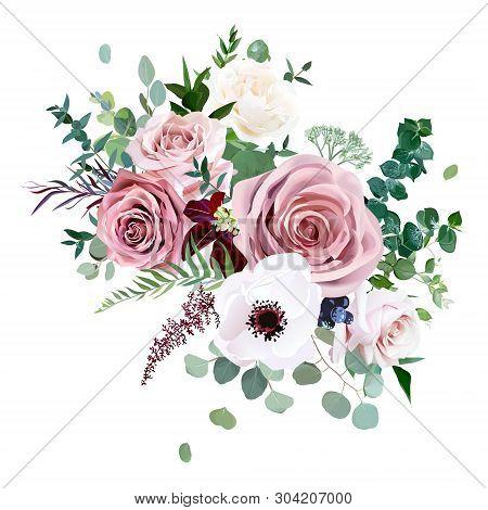 Dusty Pink, Creamy White Antique Rose, Anemone, Pale Flowers Vector Design Wedding Bouquet.eucalyptu