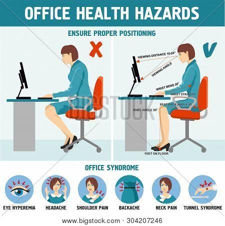 Correct Sitting At Desk Posture Ergonomics Office Health Hazards Infographics.