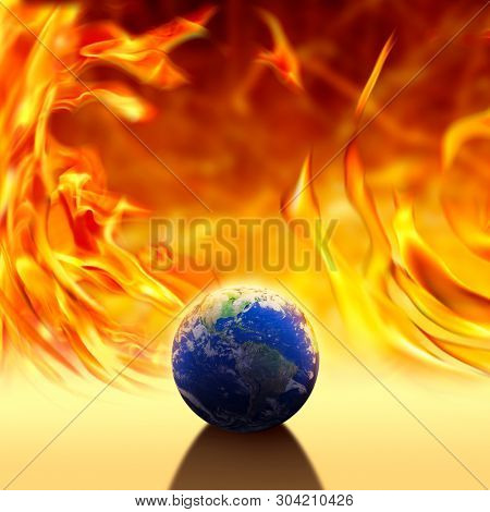 conceptual climate change image of world over fire flames.