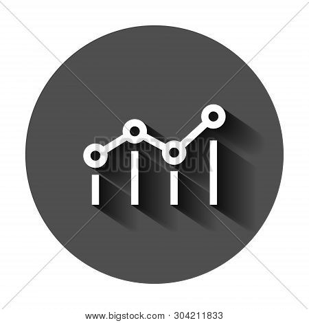 Benchmark Measure Icon In Flat Style. Dashboard Rating Vector Illustration On Black Round Background