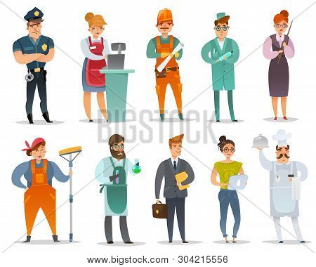 Cartoon Different Professions Characters Set. The Set Of Isolated Characters In The Uniforms Of Vari