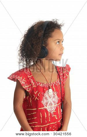Afro American Black Asian Beautiful Children With Curly Hair Listening To Music Isolated