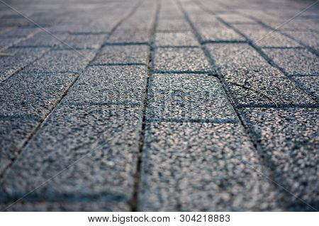 The Old Vintage Rough Brick Walkway (footpath, Sidewalk) For Street Background Or Texture - Construc