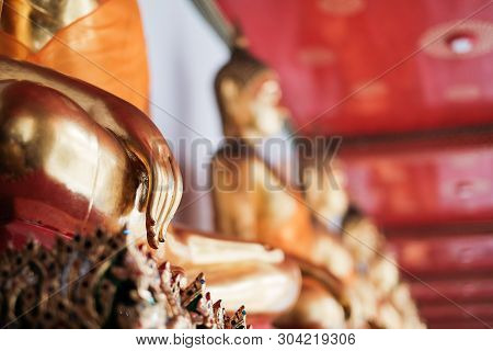 Hand Of Buddha In Temple (buddhism Religion) For Background Or Texture.