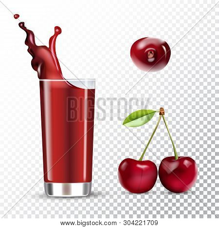 Vector Realistic Isolated Illustration Of Cherry And Cherry Juice In Glass. Ad Poster With 3d Effect