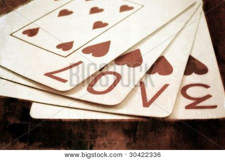 playing cards with the word love