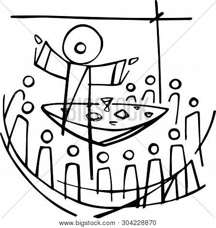 Hand Drawn Vector Illustration Or Drawing Of Jesus Christ And Disciples In Last Supper