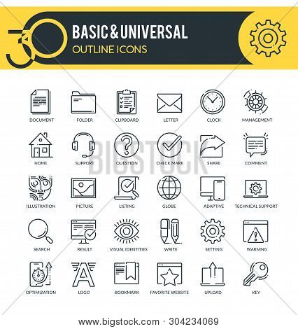 Set Of Universal And Basic Outline Icons. Each Icon Neatly Designed On Pixel Perfect 32x32 Size Grid