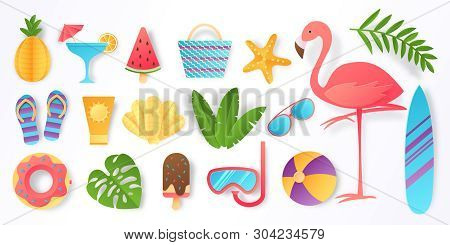 Paper Cut Summer Elements. Trendy Tropical Leaves Pink Flamingo And Beach Stickers. Vector Sun Ice C