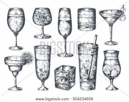 Hand Drawn Cocktails. Glasses With Alcoholic Drinks Tonic And Lemonade, Martini Gin Rum And Tropical