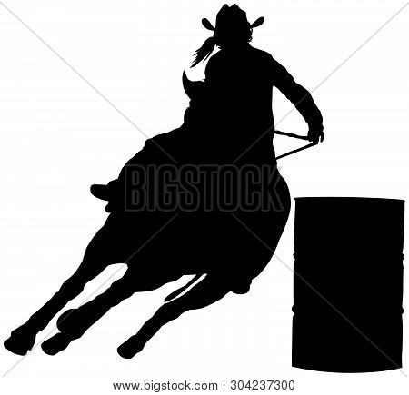 Rodeo Cowgirl Barrel Racer Black Vector Silhouette