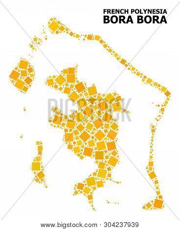 Gold Square Mosaic Vector Map Of Bora-bora. Abstract Mosaic Geographic Map Of Bora-bora Is Done From