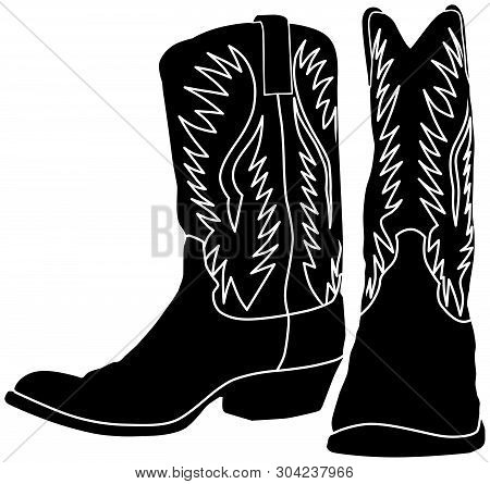 Western Cowboy / Cowgirl Boot Black Vector Silhouette