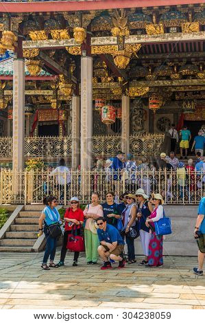 George Town Malaysia. March 2019. A View Of Tourists Taking A Picture Outside The Leong San Tong Kho