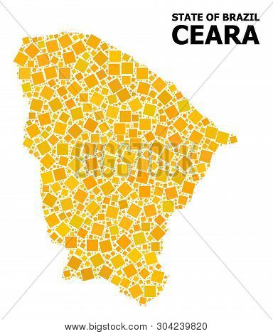 Gold Square Mosaic Vector Map Of Ceara State. Abstract Collage Geographic Map Of Ceara State Is Comp