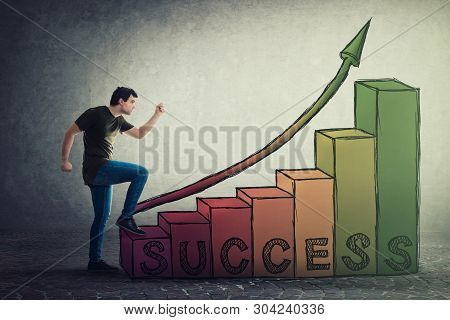 Motivated And Confident Young Man Hurry To Climb The Stairway To Success. Guy Stepping On Staircase