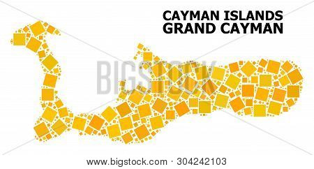 Gold Square Mosaic Vector Map Of Grand Cayman Island. Abstract Mosaic Geographic Map Of Grand Cayman