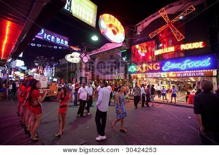 PATTAYA, THAILAND - FEBRUARY 20: Walking Street after Valentin's Day on February 20, 2012 in Pattaya, Thailand. It is a tourist attraction that draws foreigners primarily for the sex services.