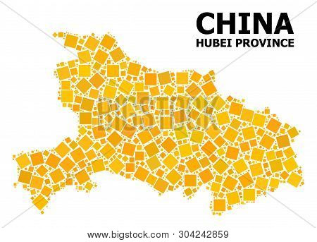 Gold Square Mosaic Vector Map Of Hubei Province. Abstract Mosaic Geographic Map Of Hubei Province Is