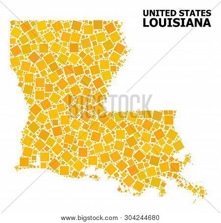 Gold Square Mosaic Vector Map Of Louisiana State. Abstract Mosaic Geographic Map Of Louisiana State