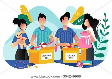 Toys And Kids Clothes Donation. Vector Trendy Flat Cartoon Illustration. Social Care, Volunteering A