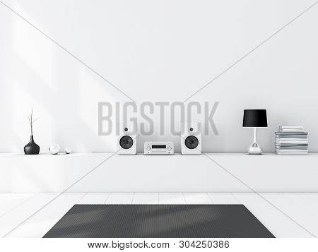 White Blank Wall Mockup With Modern Audio Stereo System And White Speakers On Bureau In Modern Inter