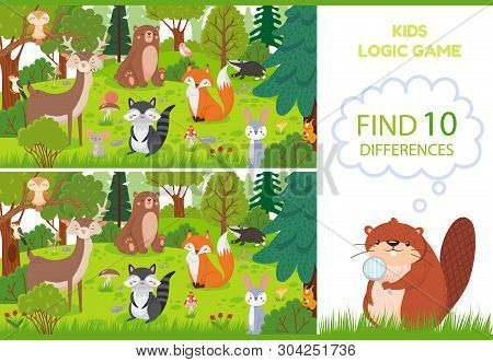Forest Animals Find Differences Game. Educational Kids Games Characters, Woodland Animal And Wild Fo