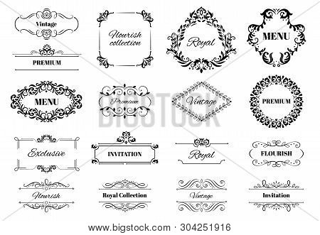 Decoration Ornament Frame. Vintage Calligraphic Motif Ornate Text, Ornamental Frames And Decorative
