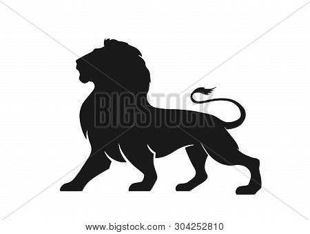 Lion Silhouette Icon, Side View. Symbol Of Courage, Bravery And Power. Isolated Vector Image Of Afri