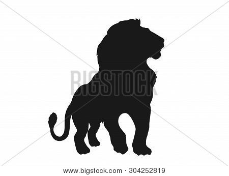 Lion Silhouette Front View. Isolated Vector Black And White Image Of African Wild Animal Carnivore