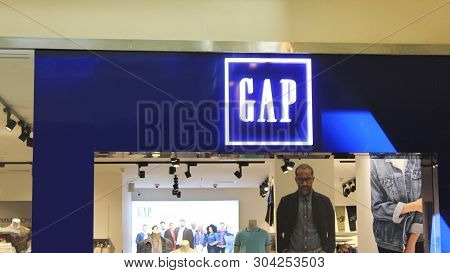 Moscow, Russia - May 2019: Gap Store Front In Shopping Mall. Gap Fashion Clothes Outlet Shop Window