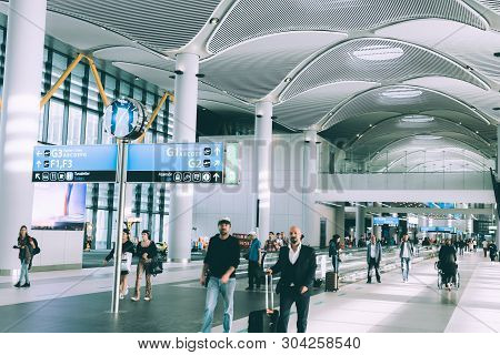 Istanbul, Turkey - 19 May 2019: The Newest Istanbul Airport Terminal. Group Of Traveler, Visitor, To