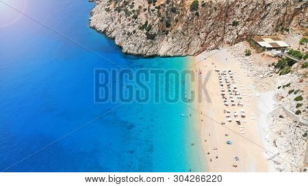 Aerial. Beautiful Kaputas Beach With Turquoise Water, Turkey. Picturesque Sea Bay In Southwestern Tu