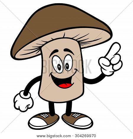 Shiitake Mushroom Pointing - A Cartoon Illustration Of A Shiitake Mushroom Mascot.