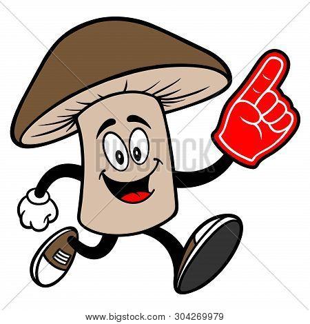 Shiitake Mushroom Running With A Foam Hand - A Cartoon Illustration Of A Shiitake Mushroom Mascot.