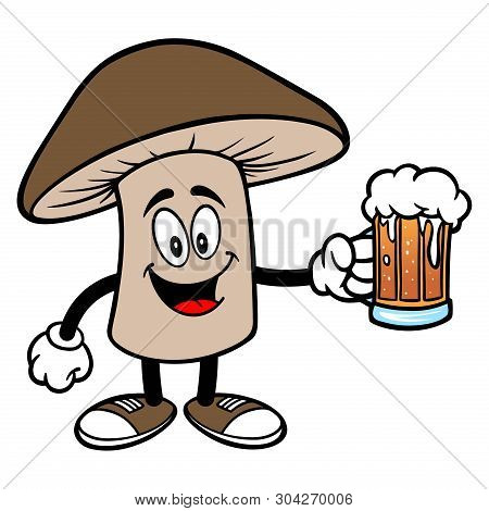 Shiitake Mushroom With A Beer - A Cartoon Illustration Of A Shiitake Mushroom Mascot.