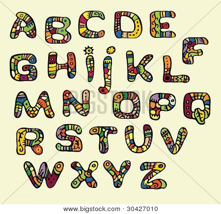 Color font in the style of ethnic