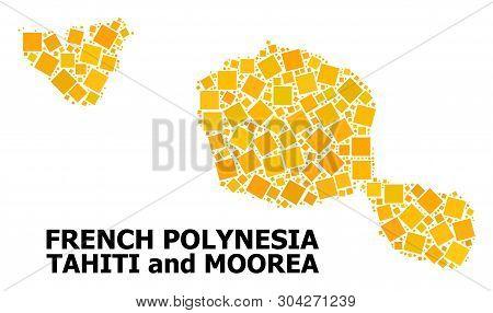 Gold Square Mosaic Vector Map Of Tahiti And Moorea Islands. Abstract Mosaic Geographic Map Of Tahiti