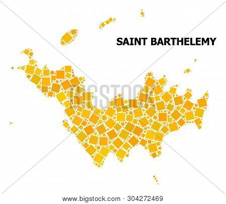 Gold Square Mosaic Vector Map Of Saint Barthelemy. Abstract Composition Geographic Map Of Saint Bart