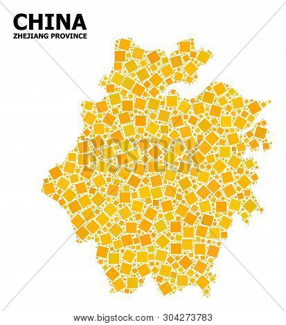 Gold Square Mosaic Vector Map Of Zhejiang Province. Abstract Mosaic Geographic Map Of Zhejiang Provi
