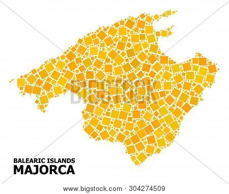 Gold Square Mosaic Vector Map Of Majorca. Abstract Mosaic Geographic Map Of Majorca Is Composed With