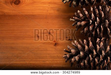 Pine Cone Background On Reclaimed Wood With Copyspace