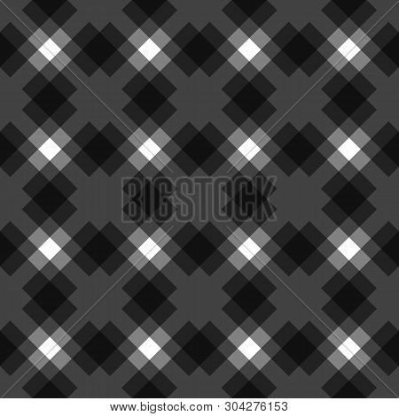 Menzies Tartan Black Kilt Diagonal Fabric Texture Background Seamless Pattern.vector Illustration. E